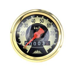 Tachometer - ø 48 mm - Zifferblatt schwarz/ hellelfenbein - Tachoring mit Echtgold veredelt, gewölbtes Glas - KR51, SR4-2, SR4-3, SR4-4 (70 km/h Ausführung)