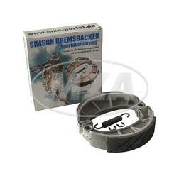 Bremsbacken - SET SIMSON  SPORT,  mit Sprengringen und Feder, auswechselbare Einlegeplättchen, Design-Karton-Verpackung