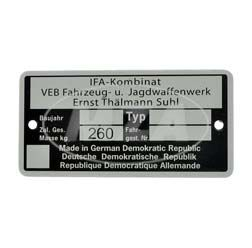 Nameplate - IFA Kombinat VEB Fajas -  maximum authorised mass of 260kg, til const. year 1990