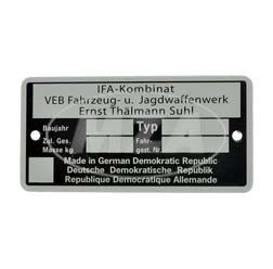 Nameplate - IFA Kombinat VEB Fajas - neutral version, til const. year 1990