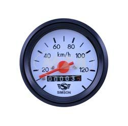 Tachometer ohne Beleuchtung , schwarzen Ring,  weißes Ziffernblatt - ø 60mm -  Anzeigebereich bis 140 km/h - k-Wert 1,4