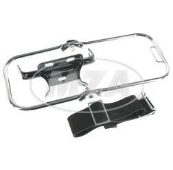 SET Gepäckträger komplett - langer Stützbügel, verchromt, Schutzblechhalter in schwarz, Riemen vollständig - für S50, S51, S70