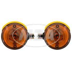 Paar Blinkleuchten, vordere - rund - 8580.23 - oranges Glas - Blinkeraufnahme 10 mm