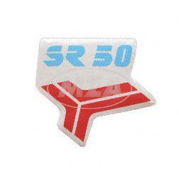 Klebefolie f. Beinblech, Knieschutzblech - rot/blau - Aufdruck: SR50