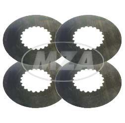 SET -  4 Stück Kupplungslamellen - Kupplungsscheibe (Stahlscheiben) - Stärke 0,6 mm - Simson Motor M531 - M743