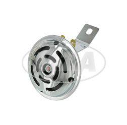 Hupe (Signalhorn) 6 V -  verchromt - (Befestigung am Gehäusemittelteil)