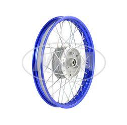 Speichenrad 1,60x16 Zoll Alufelge, blau eloxiert und poliert + Chromspeichen (Radnabe: Graugussbremsring, abgedrehte Flanken)