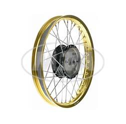 Speichenrad 1,6x16 Zoll Alufelge, gold + Chromspeichen + Radnabe schwarz