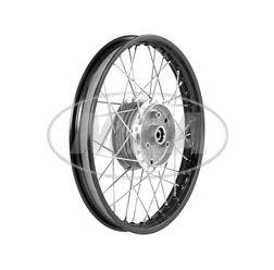 Speichenrad 1,60x16 Zoll Alufelge, schwarz eloxiert und poliert + Edelstahlspeichen (Radnabe: Graugussbremsring, abgedrehte Flanken)