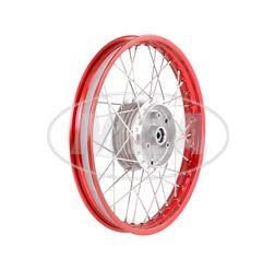 Speichenrad 1,60x16 Zoll Alufelge, rot eloxiert und poliert + Edelstahlspeichen (Radnabe: Graugussbremsring, abgedrehte Flanken)