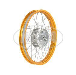 Speichenrad 1,60x16 Zoll Alufelge, orange eloxiert und poliert + Edelstahlspeichen (Radnabe: Graugussbremsring, abgedrehte Flanken)