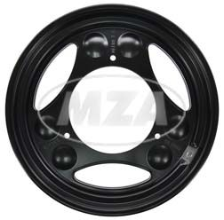 Disk wheel powder coated traffic black
