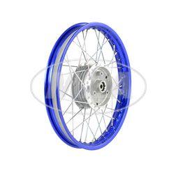 Speichenrad 1,50x16 Zoll Alufelge, blau eloxiert und poliert + Chromspeichen (Radnabe: Graugussbremsring, abgedrehte Flanken)