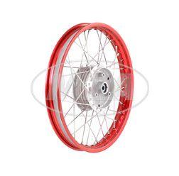 Speichenrad 1,50x16 Zoll Alufelge, rot eloxiert und poliert + Chromspeichen (Radnabe: Graugussbremsring, abgedrehte Flanken)