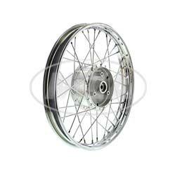 Speichenrad 1,5x16 Zoll Stahlfelge, verchromt + Chromspeichen + Tuning-Radnabe, inkl. Felgenband