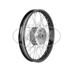 Speichenrad 1,50x16 Zoll Alufelge, schwarz eloxiert und poliert + Edelstahlspeichen (Radnabe: Graugussbremsring, abgedrehte Flanken)