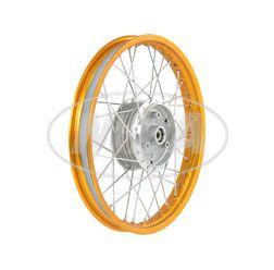 Speichenrad 1,50x16 Zoll Alufelge, orange eloxiert und poliert + Edelstahlspeichen (Radnabe: Graugussbremsring, abgedrehte Flanken)