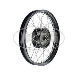 Speichenrad 1,50x16 Zoll Alufelge schwarz eloxiert + poliert + Edelstahlspeichen + schwarze Radnabe, inkl. Felgenband