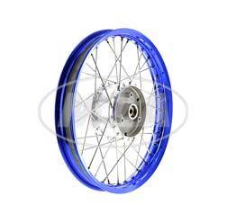 Speichenrad 1,50x16 Zoll Alufelge blau eloxiert + poliert + Edelstahlspeichen + Tuning-Radnabe, inkl. Felgenband