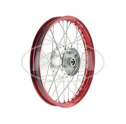 Speichenrad 1,50x16 Zoll Alufelge rot eloxiert + poliert + Edelstahlspeichen + Tuning-Radnabe, inkl. Felgenband