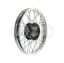 Speichenrad 1,5x16 Zoll Alufelge poliert + Chromspeichen + schwarze Radnabe, inkl. Felgenband
