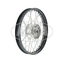 Speichenrad 1,5x16 Zoll Alufelge schwarz eloxiert + poliert + Edelstahlspeichen + Tuning-Radnabe, inkl. Felgenband