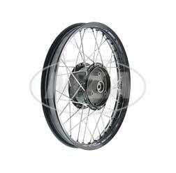 Speichenrad 1,5x16 Zoll Alufelge schwarz eloxiert + poliert + Edelstahlspeichen + Tuning-Radnabe schwarz, inkl. Felgenband