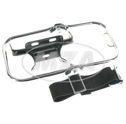 SET Gepäckträger komplett - kurzer Stützbügel, verchromt, Schutzblechhalter in schwarz, Riemen vollständig - für S50, S51, S70