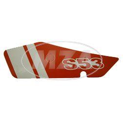 Klebefolie f. Seitendeckel links, rot / weiß - S53 N