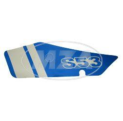 Klebefolie f. Seitendeckel links, blau / weiß  - S53 N