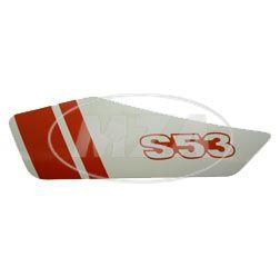 Klebefolie f. Seitendeckel links - weiß / rot - S53