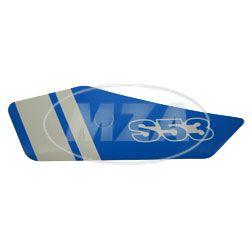 Klebefolie f. Seitendeckel links - blau / weiß - S53