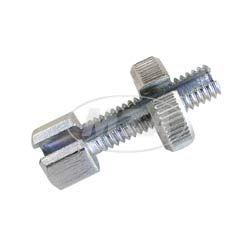Stellschraube kurz mit Rändelmutter - M6x22 - geschlitzt - f. Lenkerarmaturen (Bowdenzüge) - Gesamtlänge 30mm