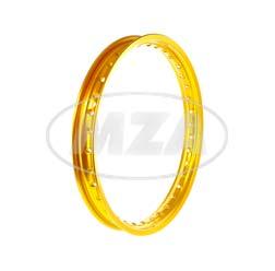 Alufelge 1,50x16 - 36 Loch - gold eloxiert und poliert
