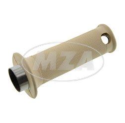 Gasdrehgriff komplett - Griffrohr mit Gummigriff (Muffe) - beige - Rändelprofil - für Vogelserie