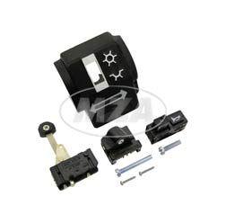 Gehäusehälfte hinten -  Schalterkombination - mit Abblend- u. Blinkschalter, Einzeltaster - mit Schrauben - ohne Kabelbaum