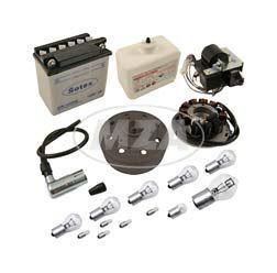 SET Umrüstsatz VAPE (M-G) Roller SR50, SR80 auf 12V 35/35W (mit Batterie inkl. Säurepack und Leuchtmittel)
