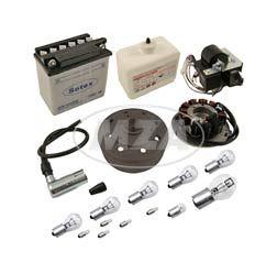 Umrüstsatz VAPE M-G-V  (Magnete geklebt und  vergossen!)  auf 12V35/35W -  mit Batterie und Kugellampen für SR50, SR80 (mit Säurepack)