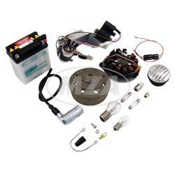 SET Umrüstsatz VAPE (M-G) KR51/1, KR51/2 auf 12V 35/35W (mit Batterie inkl. Säurepack, Hupe und Leuchtmittel)