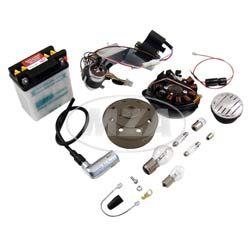 Umrüstsatz VAPE M-G-V (Magnete geklebt und vergossen) Schwalbe KR51/1, KR51/2 auf 12V, Komplett-Set mit Batterie, Hupe und Kugellampen, allen benötigten Anbauteilen und Anleitung