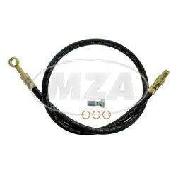 Set Bremsschlauch ETZ - Länge 79,5cm - mit Hohlschraube M10x1 + 3x Kupferdichtungen - 1x Gewindeanschluss gerade