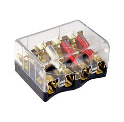 Caja de fusibles  8811.14/1 con tapa, claro, 4 de ranura para fusibles, 8 de conectores