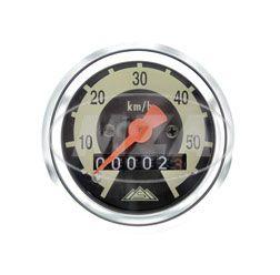 Tachometer für SR2E, SR4-1, KR50, Ø48mm, 60km/h-Version - Skale schwarz/ hellelfenbein, Tachoglas gewölbt, Chromring