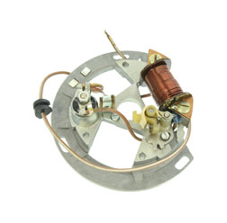 Grundplatte vollst. 8302.1-100 - Unterbrecherzündung - ohne Lichtspulen - Aufbausatz Rasenmäher BM40 - kann auch f. alle SLPZ mit untenliegenden Unterbrecher verwendet werden