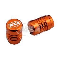 Ventilkappe (2 Stück) Alu orange eloxiert - MZA-Design-Kappe,  inkl. O-Ringe/Dichtungen