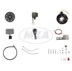 Lichtmagnetzündanlage 6V 100W mit integrierter vollelektronischer Zündung, passend für JAWA 11/353/355/356/559/590 und CZ 450/455/470/475/477/482/485/487
