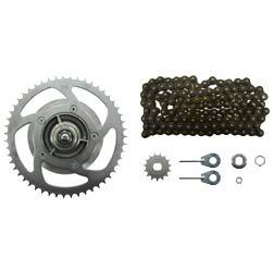 Kit chaîne avec petites pièces - Simson S53M - Cyclomoteur 25km / h - Driver Z = 51, chaîne à rouleaux 118 maillons, pignon d'entraînement Z = 13 (avec rallonge d'essieu)