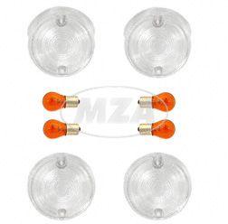 SET Blinkerkappen rund weiß incl. Glühbirnen SR50, S51 ( 6 Volt )