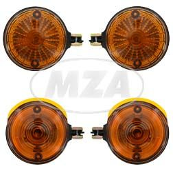 SET Vordere + hintere Blinkleuchten - Lichtsaustritt: Orange - Blinkeraufnahme Ø10 mm - ohne Leuchtmittel