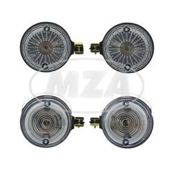 SET Vordere + hintere Blinkleuchten - Lichtaustritt: Weiß - Blinkeraufnahme Ø10 mm